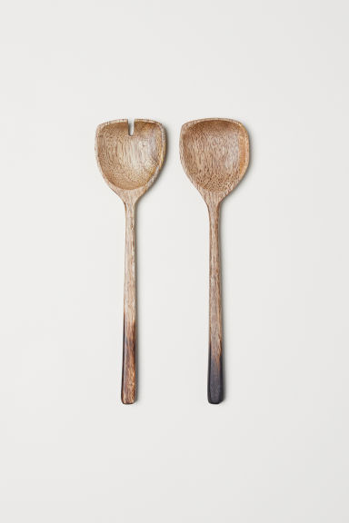 Couverts à salade en bois - Beige/bois de manguier - Home All | H&M FR