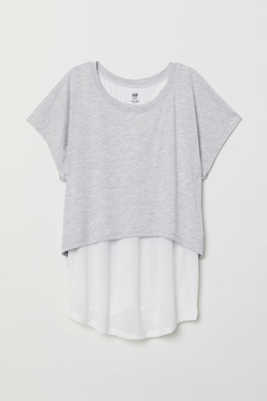 Double-layered sports top - Light grey marl - Ladies | H&M GB