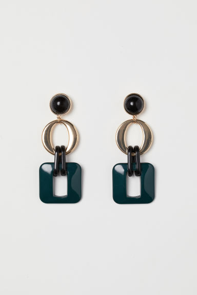 Long earrings - Dark green -  | H&M CN
