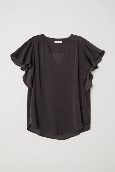 Short-sleeved satin blouse - Dark grey - Ladies | H&M CN