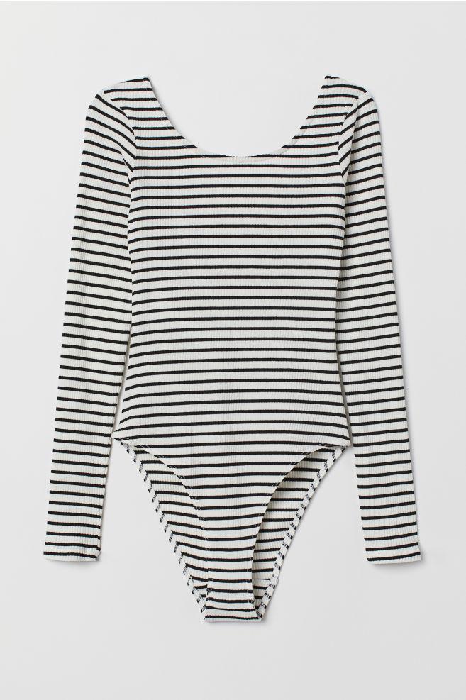 6f4f18f44e4d Long-sleeved body - White/Black striped - Ladies   H&M ...