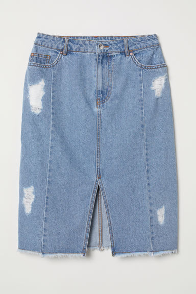 Knee-length denim skirt - Light denim blue - Ladies | H&M CN