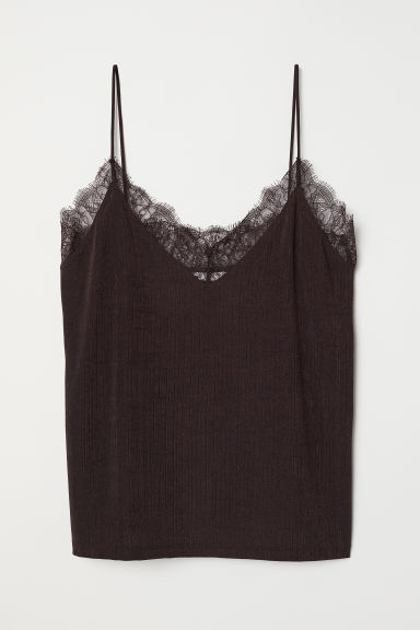 Top with lace - Dark brown - Ladies | H&M