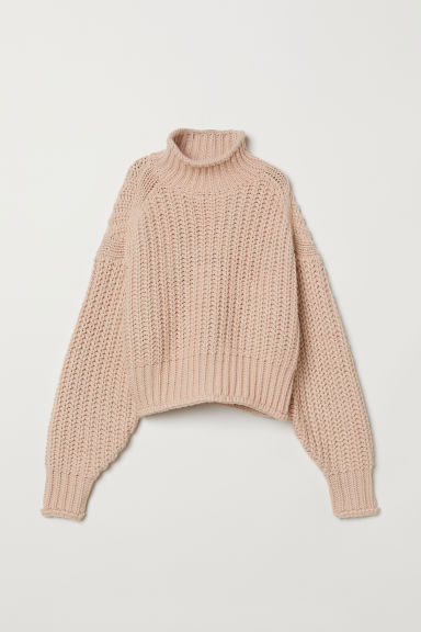 Ribbed polo-neck jumper - Powder pink - Ladies | H&M IN