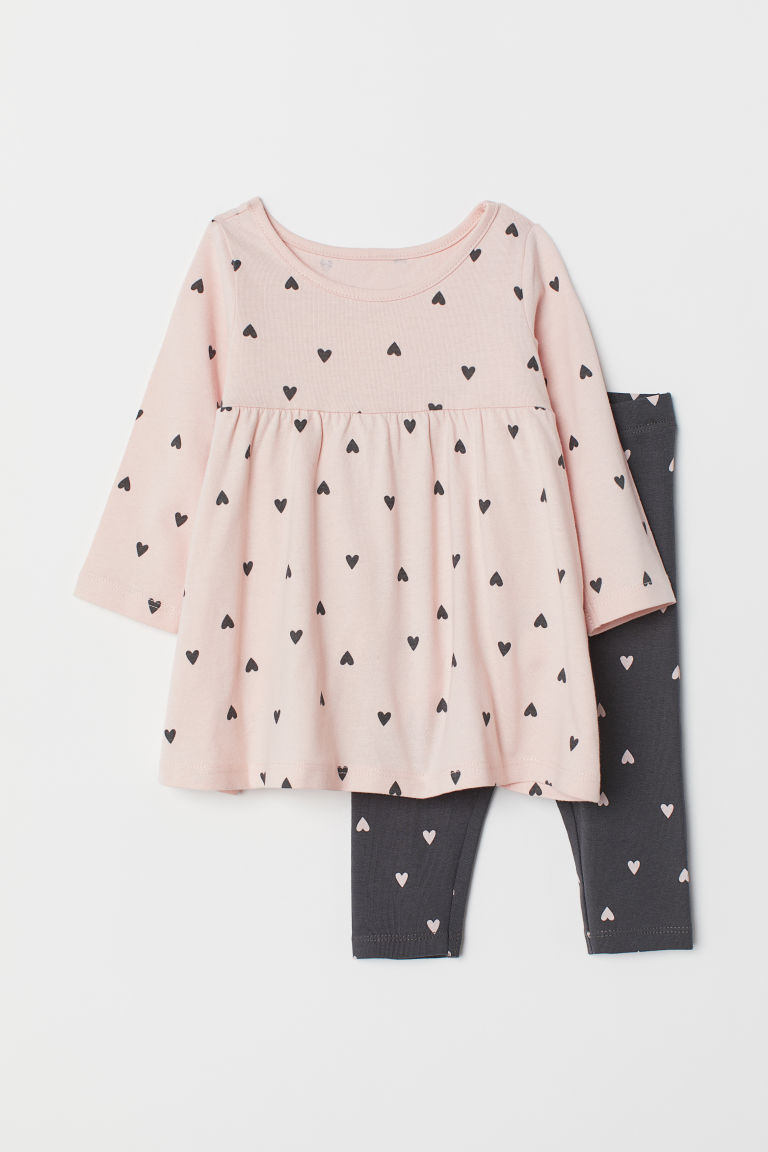 Jersey dress and leggings - Powder pink/Hearts - Kids | H&M CN