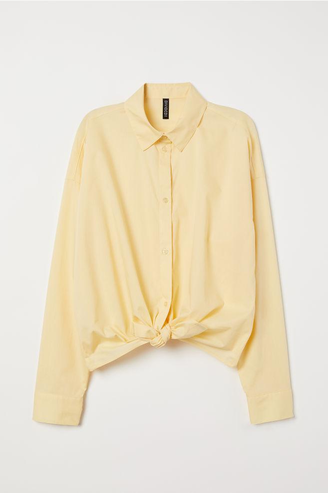 727bae86527 ... Košile s vázačkou - Světle žlutá - ŽENY