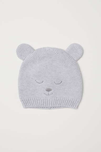 Knitted hat with ears - Light grey marl - Kids | H&M IE