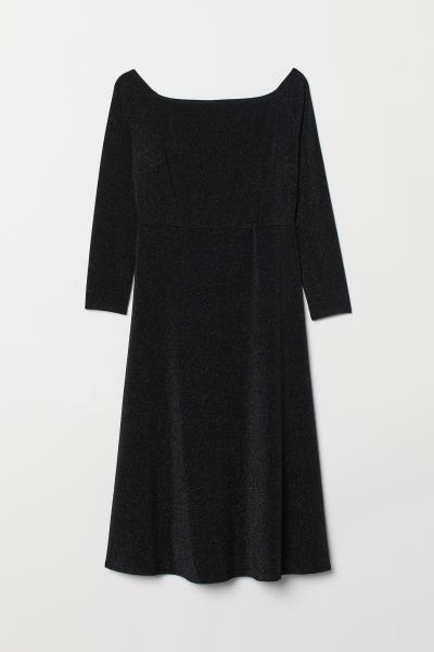 8feac39e1814 H M+ Off shoulder-kjole - Sort - DAME