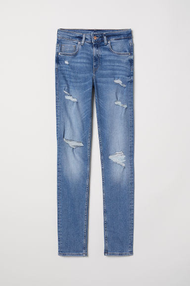 Skinny High Jeans - Niebieski denim/Trashed - ONA | H&M PL