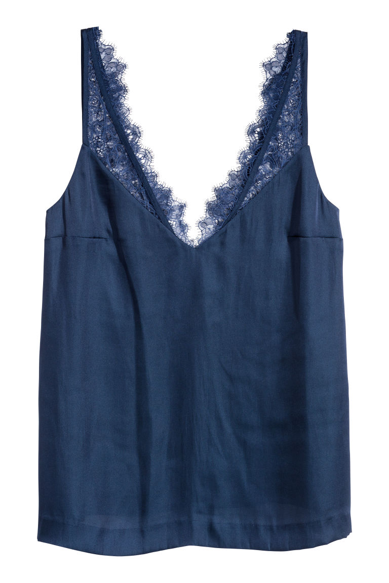 Satin top with lace - Dark blue - Ladies | H&M