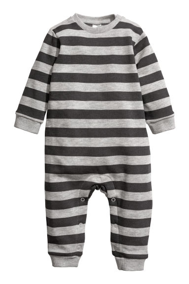 All-in-one suit - Dark grey/Striped - Kids | H&M