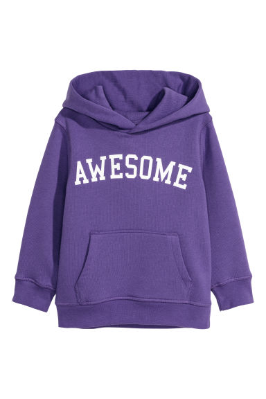Printed hooded top - Purple/Awesome -  | H&M