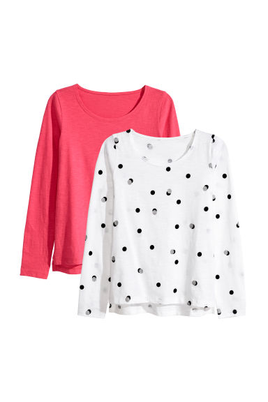 2-pack tops - White/Spotted - Kids | H&M