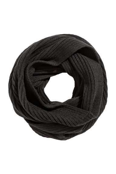 Ribbed tube scarf - Black - Men | H&M IE