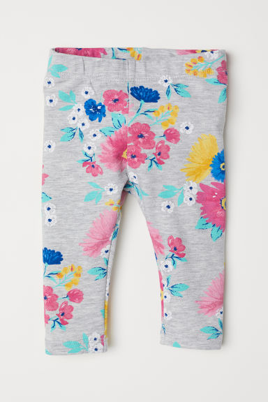 Leggings with a motif - Light grey marl/Floral - Kids | H&M CN