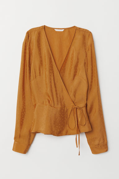 Jacquard weave wrapover blouse - Yellow -  | H&M