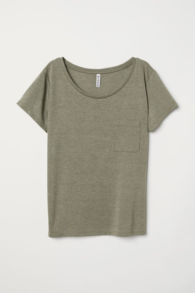 T-shirt with a chest pocket - Khaki green marl -  | H&M