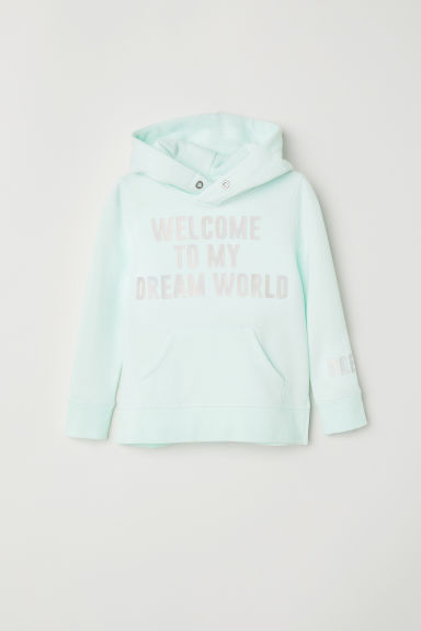 Hooded top with motifs - Light turquoise -  | H&M