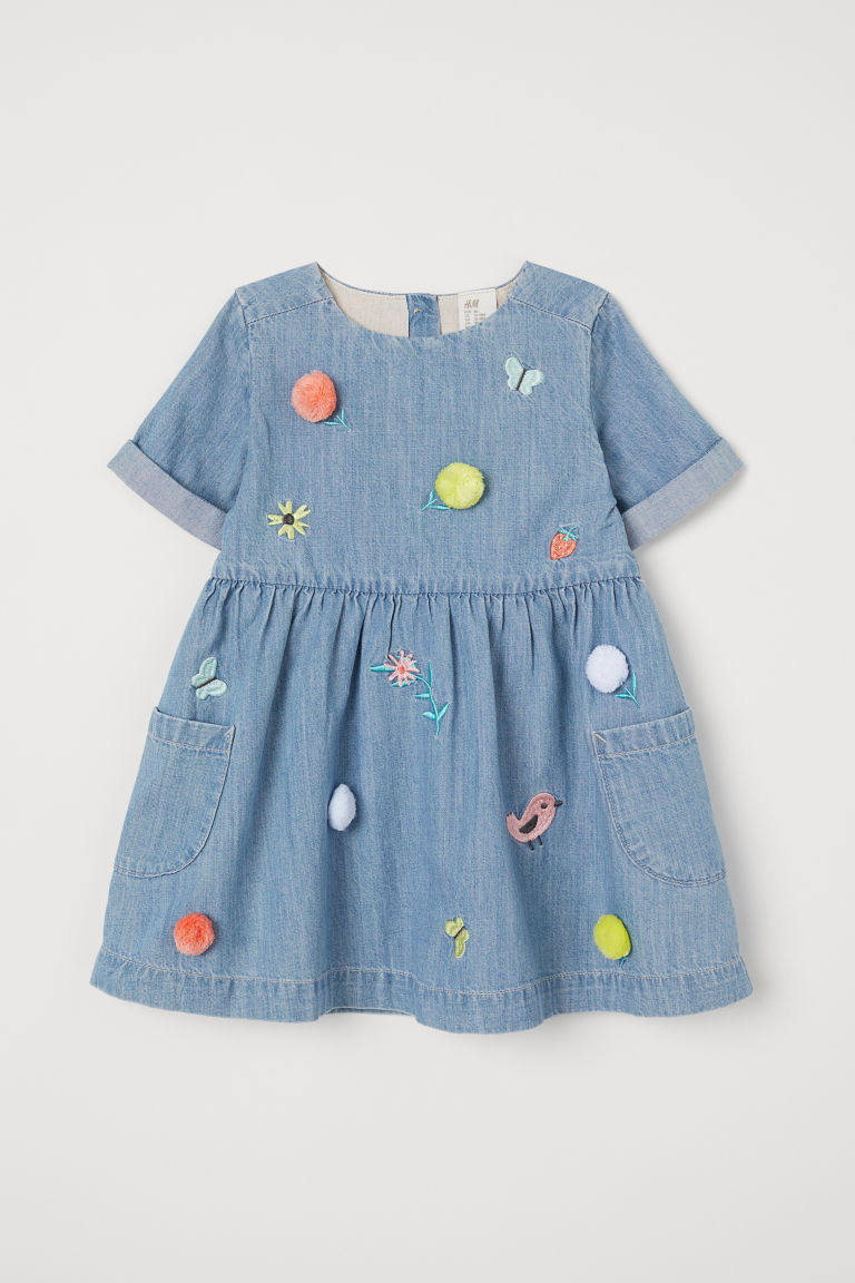 Embroidered denim dress - Denim blue - Kids | H&M
