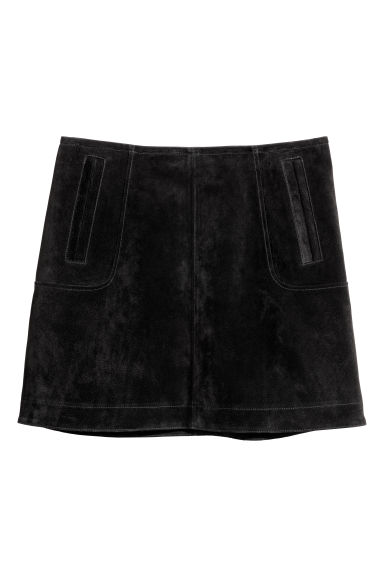 Short suede skirt - Black -  | H&M CN