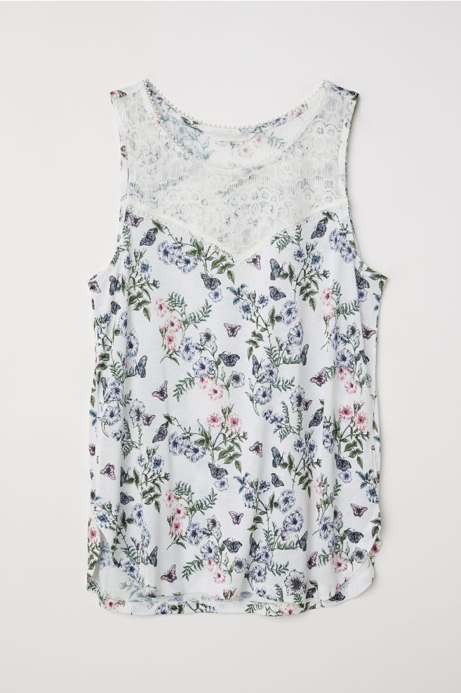 a733393bc0be06 Sleeveless Jersey Top - White/floral - Ladies | H&M ...