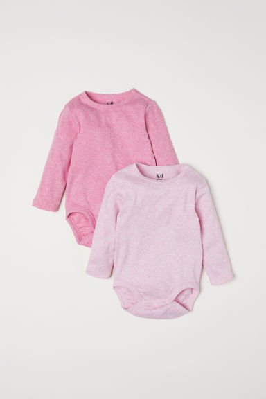 2-pack long-sleeved bodysuits - Pink marl - Kids | H&M