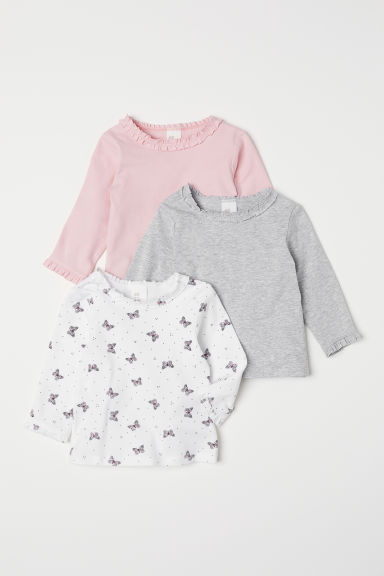 3-pack jersey tops - Natural white/Butterflies - Kids | H&M