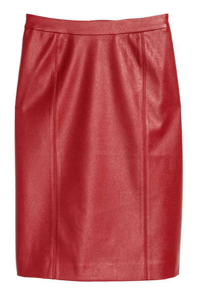 Imitation leather skirt - Red - Ladies | H&M IE