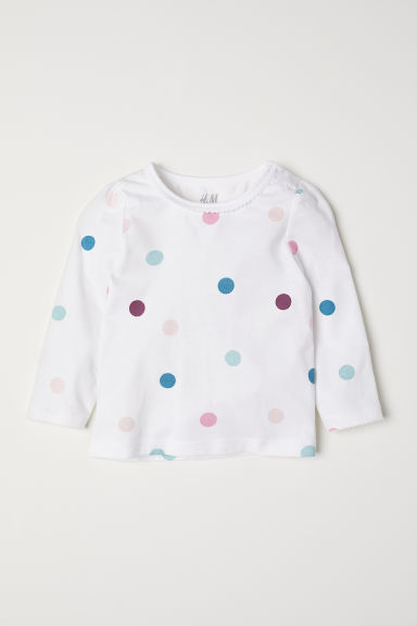 Puff-sleeved jersey top - White/Spotted - Kids | H&M