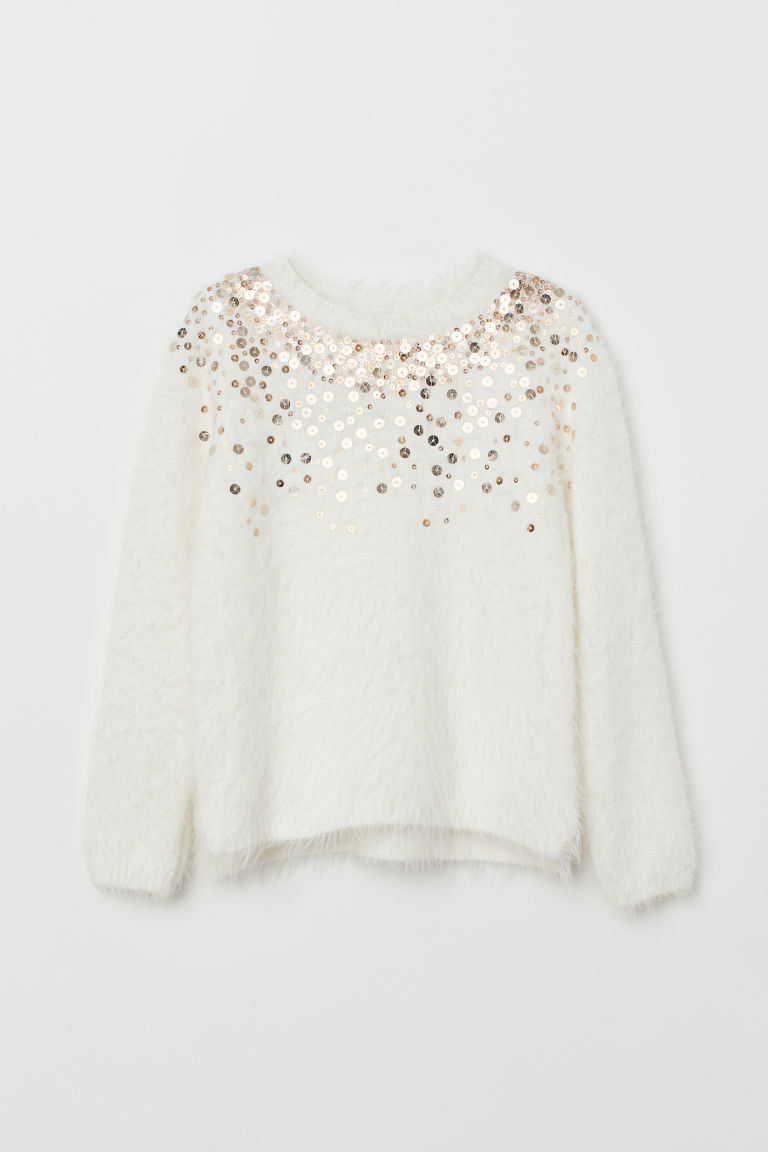Jumper with sequins - White - Kids | H&M CN