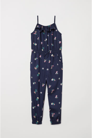 Patterned jumpsuit - Dark blue/Floral - Kids | H&M
