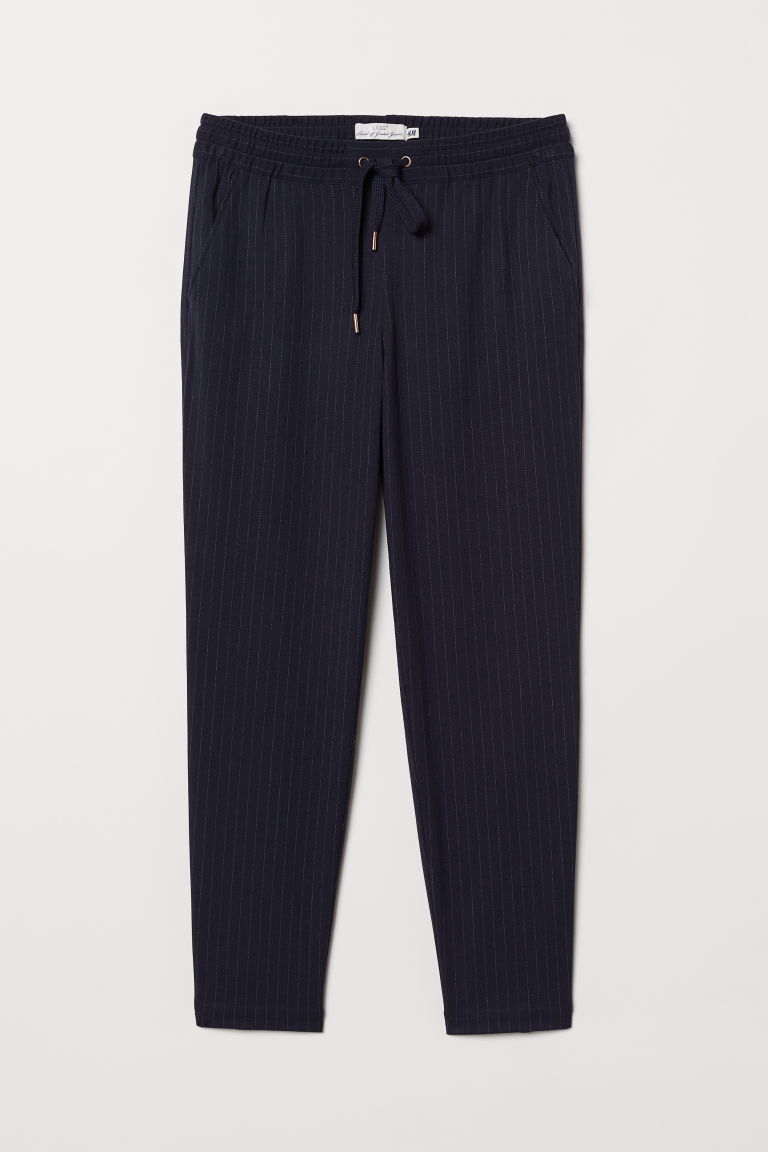 Joggers - Dark blue/Pinstriped - Ladies | H&M