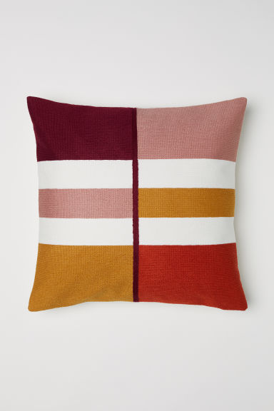 Block-coloured cushion cover - White/Multicoloured - Home All | H&M CN