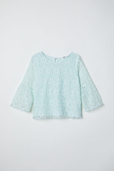 Trumpet-sleeved lace blouse - Mint green -  | H&M