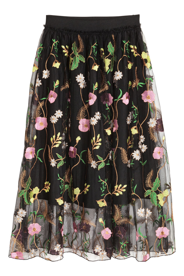Mesh skirt with embroidery - Black/Floral - Ladies | H&M