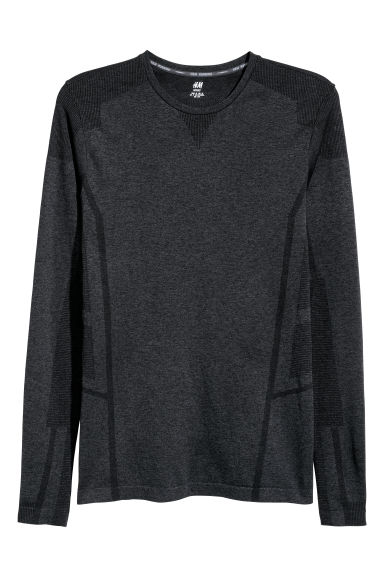 Seamless sports top - Dark grey marl -  | H&M