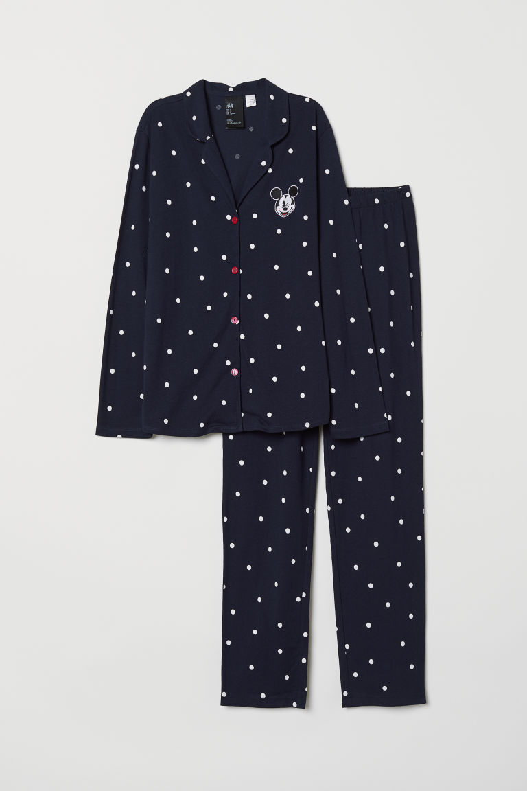 Pyjama shirt and bottoms - Dark blue/Mickey Mouse - Ladies | H&M