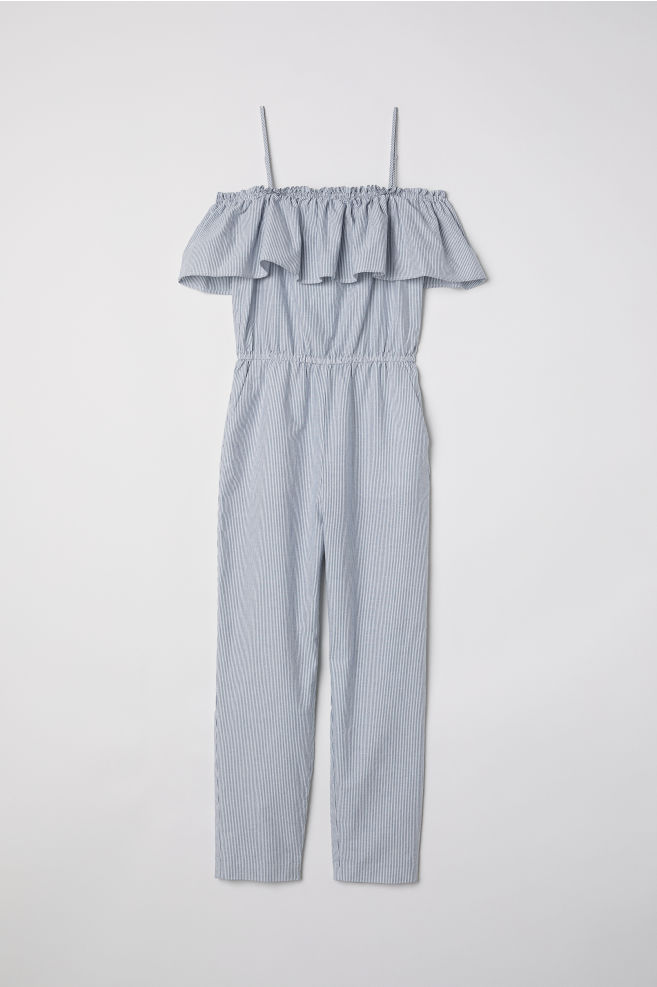 541f590aa16 Off-the-shoulder-jumpsuit - White Blue striped - Ladies