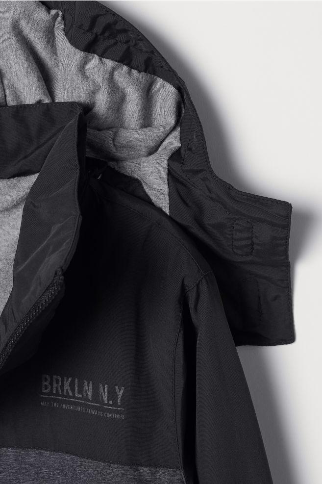 68e487056 ... Fleece-lined Shell Jacket - Black/gray melange - Kids | H&M ...