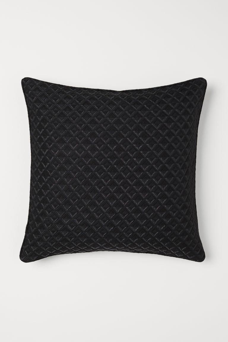 Jacquard-weave cushion cover - Black/Glittery - Home All | H&M IE