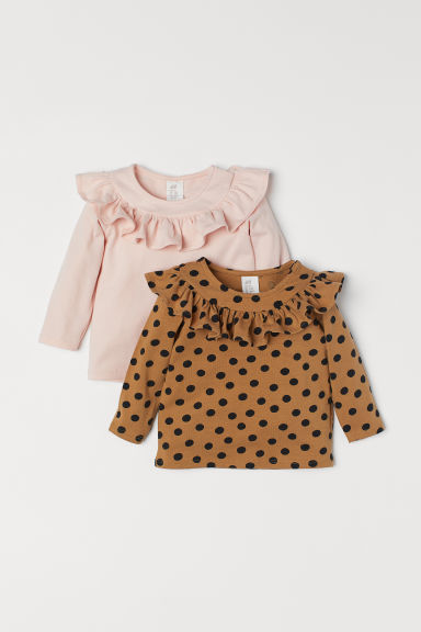 2-pack cotton tops - Dark beige/Light pink - Kids | H&M