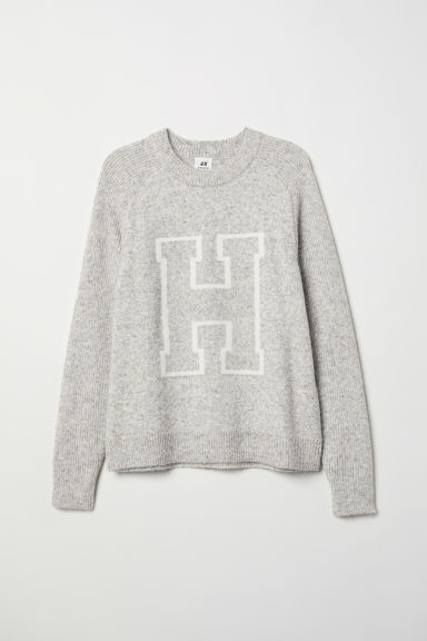 Knitted intarsia motif jumper - Light grey marl -  | H&M
