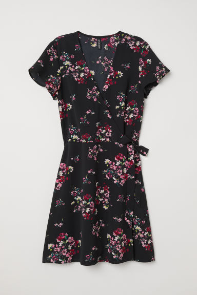 Patterned wrap dress - Black/Floral -  | H&M