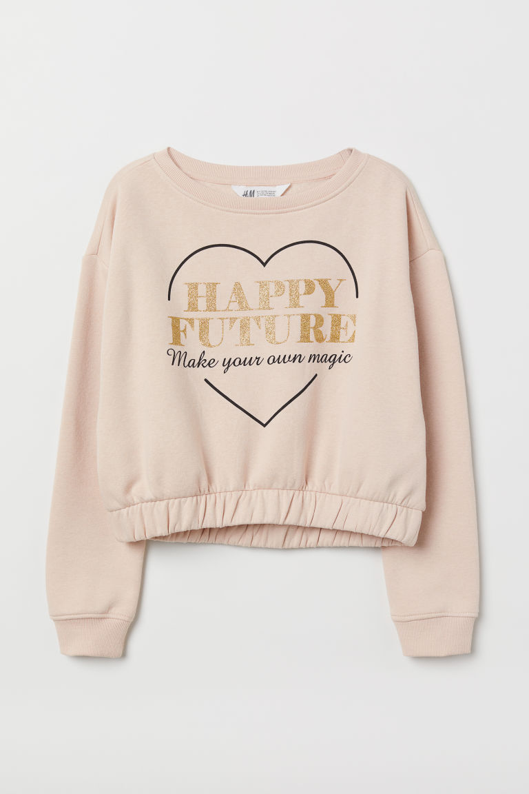 Printed sweatshirt - Powder pink - Kids | H&M