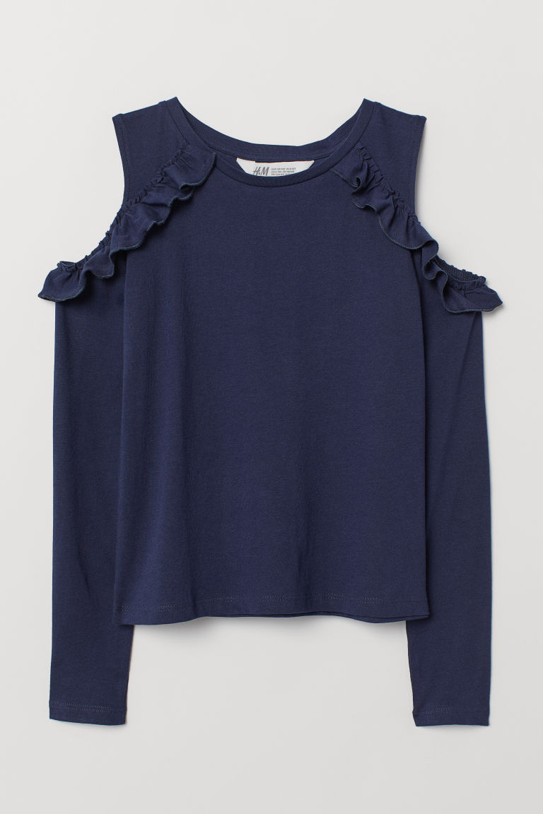Cold shoulder top - Dark blue - Kids | H&M