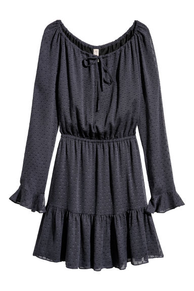 Flounced dress - Dark blue -  | H&M
