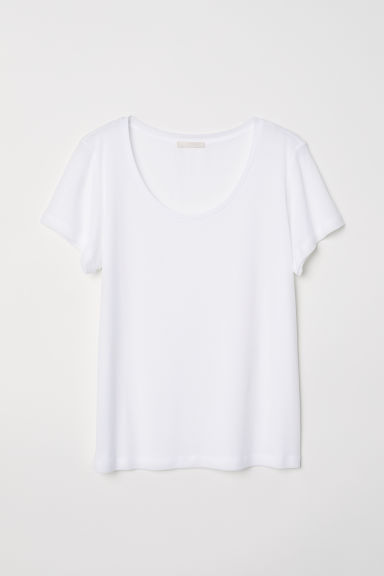 T-shirt van lyocell - Wit -  | H&M BE