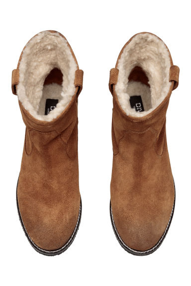 Warm-lined suede boots - Beige -  | H&M