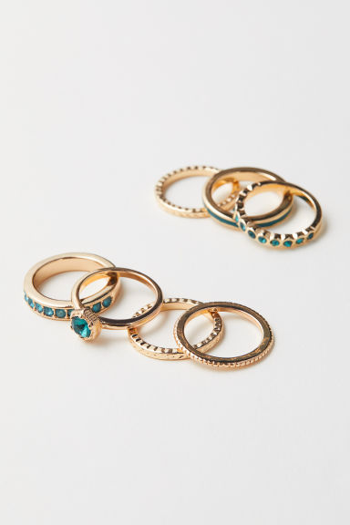 7-pack rings - Gold-coloured/Dark green - Ladies | H&M