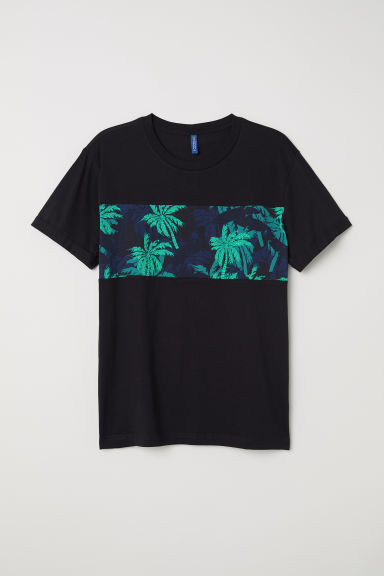 T-shirt with turn-up sleeves - Black/Palm trees - Men | H&M